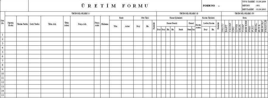 Şekil 2 1 Yeni Düzenlenmiş Örnek Üretim Formu